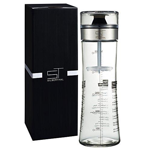 SILBERTHAL Dressingshaker aus Glas mit Rezepten | Dressing Mixer und Dressingbehälter | Spülmaschinenfest | 500 ml Füllmenge