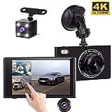 Yakola X5 (3Lens) Dashcam Rückfahrkamera,Ultra 1080P Full HD, 4,3' IPS Touchscreen, Dual LED Nachtsicht, Vorne, hinten, Innere Autokamera, 430°Parküberwachung, Bewegungserkennung, G-Sensor