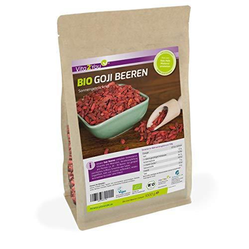 Bio Goji Beeren 1kg Zippbeutel - ungeschwefelt - Ökologischer Anbau - Wolfsbeeren - 1000g - Premium Qualität