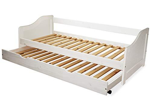 KMH, Massivholz Kinderbett/Ausziehbett mit ausziehbarem Bettkasten, incl. 2 Lattenroste (90 x 200 cm/Weiss) (#201101)
