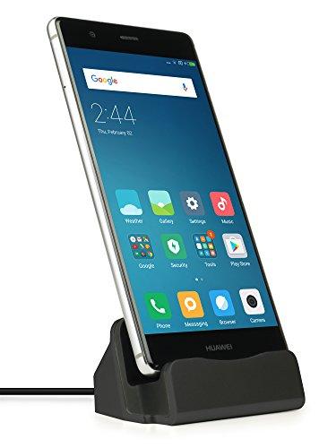 MyGadget Dockingstation Ladestation [USB C] für Android Smartphones - Halterung Dock für z.B. Samsung Galaxy S8, A3, A5 (2017) Huawei P9, P10 - Schwarz