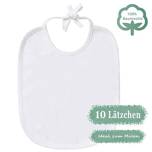 Minetom Baby Weiße Lätzchen zum Bemalen für Babyparty | 10er baumwoll sabberlätzchen | Ideal zum Selbst Gestalten und Bemalen | Perfektes Geschenk für Babyshower party