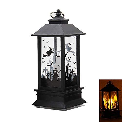 TJW Retero Halloween Deko LED Lampe Hängende Laterne Flamme Licht für Halloween Home Tischdekoration