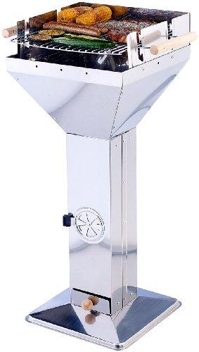 Rosenstein & Söhne Trichtergrill Edelstahl: Säulengrill in Trichterform, Edelstahl, 3-fach verstellbarer Grillrost (Edelstahlgrill)