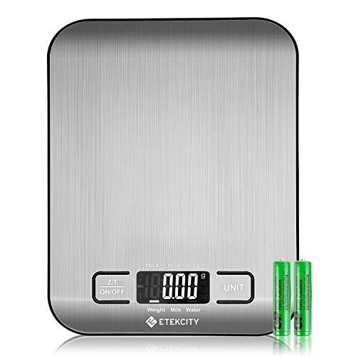 ETEKCITY Küchenwaage Digitalwaage elektronische Waage 5KG mit großem LCD-Display, ultradünne Küchenwaage (1,5 cm) aus Edelstahl, Flüssigkeitsmessung, hohe Präzision auf bis zu 1g, Tara-Funktion