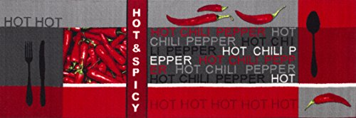Teppichläufer Küchenläufer Chilidesign Chililäufer Küchenteppich – Wohnzimmer Eingangsbereich Flur Küche – Hot & Spicy - gekettelt strapazierfähig pflegeleicht – 67 x 200 cm rot