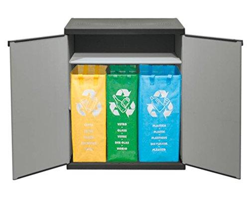 Verschließbarer Mülltrenner mit spritzwassergeschützter Deckel- & Bodenplatte - stabil und verschließbar für einfaches recyceln drinnen und draußen