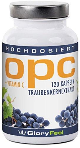 OPC Traubenkernextrakt Kapseln - 600mg Reines OPC pro Tagesdosis (95% OPC-Gehalt) - Laborgeprüft aus Original französischen Weintrauben - Ohne Magnesiumstearate - 120 Kapseln hochdosiert und vegan