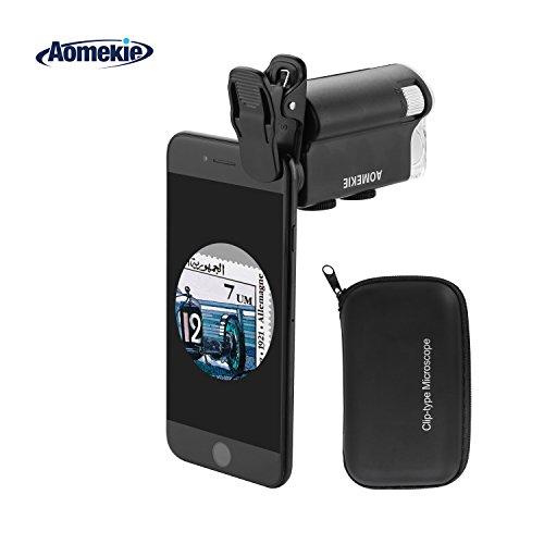 Aomekie Handy Mikroskop Lupe 60X-100X Zoom Objektiv Taschenmikroskop mit LED UV Licht Universal Clip und Tasche für iPhone und Smartphone