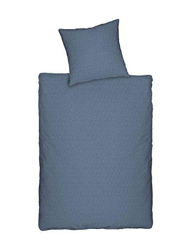 Dormisette Q345 Jersey Bettwäsche in Melange-Optik, Größe 80/80 und 135/200 cm, blau