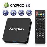 Kingbox Android 9.0 tv Box K4 MAX 4GB RAM+64GB ROM Quad Core mit 2.4G WiFi Unterstützt 4K 3D/ 100 LAN / H.265, HDMI, USB*3 Smart TV Box