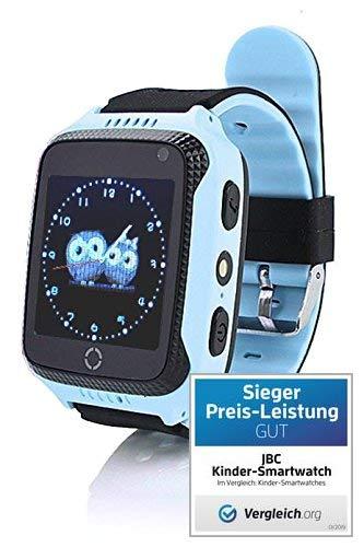 JBC GPS Telefon Uhr- Kleiner Abenteurer - ohne Abhörfunktion -Blau, sicherem Deutschen Server, SOS Notruf + Telefonfunktion, Anleitung + App + Support: auf Deutsch