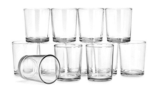 VBS 12er-Set Teelichthalter Glas klar ca. 6cm hoch 4,7cm Durchmesser Teelichter Teelichtglas Gläser zum Basteln Kerzen Windlichter Votivgläser
