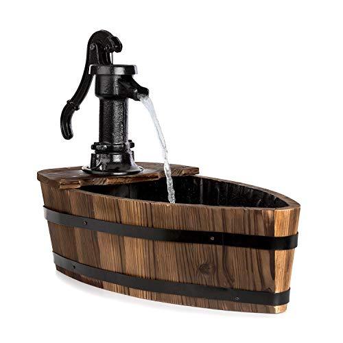 blumfeldt Starnberg Gartenbrunnen • Zierbrunnen • 12 Watt • in Form eines Boots • gusseiserne Schwengelpumpe • mit Teichfolie ausgekleidet • geschlossener Wasserkreislauf • Tannenholz • Holz • braun