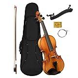 CASCHA 4/4 Violine Set für Anfänger, Jugendliche und Erwachsene, Massive Geige inkl. Bogen, Kolophonium, Ersatzsaiten, Schulterstütze, Formkoffer, Fichte Natur
