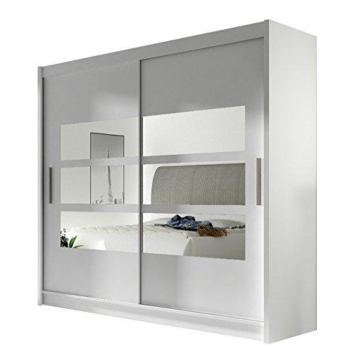 Kleiderschrank mit Spiegel London III, Schwebetürenschrank, Schiebetürenschrank, Modernes Schlafzimmerschrank 180x215x57cm, Garderobe, Schlafzimmer (Weiß)
