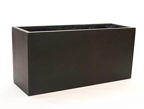 Pflanztrog Blumentrog Raumteiler Fiberglas rechteckig LxBxH 100x40x50cm elegant schwarz-matt