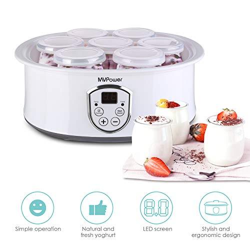 MVPower Joghurtbereiter elektrischer Joghurt-Maker joghurtmaschine mit LCD Display/Temperaturregelung/Timer/einfach zu reinigen/Überhitzungsschutz/Edelstahlrahmen/7 Gläsern(180ml/stück)