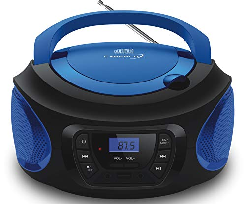 Tragbarer CD-Player     CD/CD-R   USB   FM Radio   AUX-In   Kopfhöreranschluss   Kinder Radio   Boombox   CD-Radio   Stereoanlage   Kompaktanlage (Cobalt Blue)