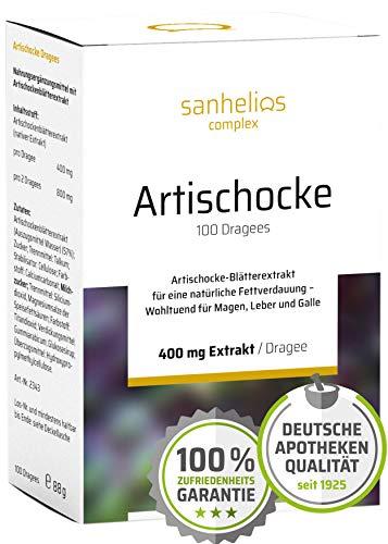 Sanhelios Artischocke-Blätterextrakt für eine natürliche Fettverdauung | 400 mg nativer Extrakt je Dragee | 100 Drages | Nur natürliche & pflanzliche Zutaten | Apothekenqualität