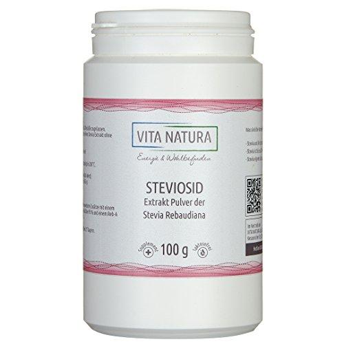 Vita Natura | Reines, hochkonzentriertes Stevia Extrakt Pulver (Steviosid) 100g | Streufähige Tafelsüße auf Basis von Steviol Glycosiden aus der Stevia Pflanze (Stevia rebaudiana)