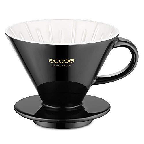 ecooe Keramik Kaffeefilter Große 02 Porzellan Schwarz Handfilter 1 bis 4 Tassen Porzellanfilter