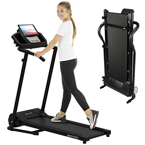 Murtisol Laufband Elektronik 1,0 PS Laufen Machine Leiser Heimtrainer mit LCD Anzeige,IPAD Stehen,Wasserkocherhalterung,Bluetooth,für GEH- und Lauftraining mit 12 Programmen, kompakt klappbar