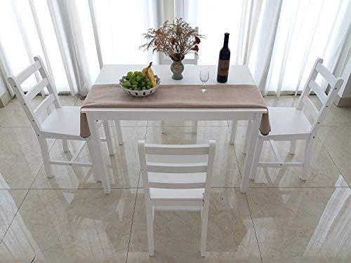 Dakea Essgruppe Tischgruppe Esstisch mit 4 Stühlen Set Weiß 108 x 65cm Holz