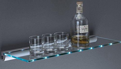 Glasregal LED Regal   Batteriebetrieb - ohne Kabel   2 Größen   60x20 cm