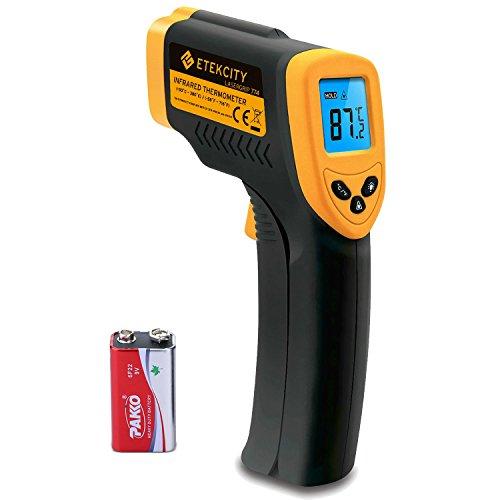 Etekcity Digital Laser Infrarot Thermometer IR Pyrometer berührungslos Temperaturmessgerät Temperaturmesser, -50 bis +380°C, LCD Beleuchtung, Gelb/Schwarz, Lasergrip 774