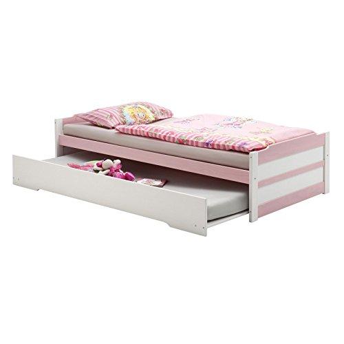 Tandembett Funktionsbett Schubladenbett Auszugsbett LORENA in weiss-rosa lackiert 90 x 200 cm Liegefläche