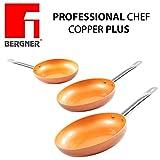 Original Chef Copper Plus–Set mit 3super robusten Kupferpfannen. Durchmesser 20 cm /24 cm / 28 cminnovative Antihaftbeschichtung ohne PFOA– Boden geeignet für Induktionsherd 1165