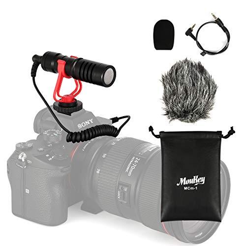 Moukey MCM-1 Kamera Mikrofon Videomic mit Stoßdämpfer, synthetischer Pelzscheibe, Schaumstoffabdeckung, Windschutzscheibe und 3.5mm Umwandlungskabel