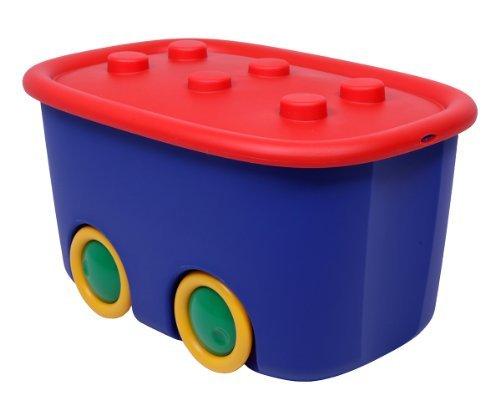 Ondis24 Spielzeugaufbewahrungsbox Spielzeugkiste Aufbewahrungsbox Spielzeugbox Funny mit großen Rädern und aufliegendem Deckel, rot blau