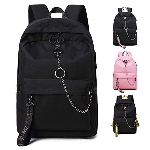 FEDUAN Campus Rucksack Schultasche Schulrucksack Studententasche Laptop-Rucksäcke mit USB Anschluss Tagesrucksack modisch Reiserucksack Mädchen Jungen Teenager groß 18L M2 schwarz