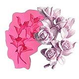 3D Rose Blume Cluster Flüssige Silikon Form Handarbeit Seife Kerze Ornamente Gips Epoxy Form Seife Herstellung Formen Gips Harz Ton Formen DIY Backgeschirr Kuchen Dekorieren Werkzeug Backform