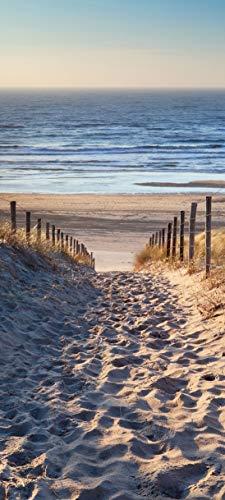 Bilderdepot24 Türtapete selbstklebend Schöner Weg zum Strand III 90 x 200 cm - einteilig Türaufkleber Türfolie Türposter - Meer Sand Wasser Sonne Düne Gras Ausblick Landschaft Natur Beach