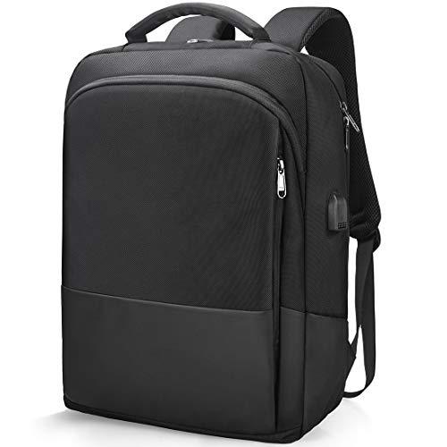 NEWHEY Laptop Rucksack Herren Schulrucksack Jungen Teenager 15 Zoll Business Arbeit Notebook Backpack wasserdichte für Männer USB 15,6 Zoll Schwarz