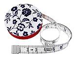 hoechstmass Balzer 80244d-s Rollmaßband rollfix Dekor mit schwarzen Blumen, 150 cm / 60 Zoll, Größe 5 cm Maßband, ABS, Weiß, 5 x 5 x 1,4 cm