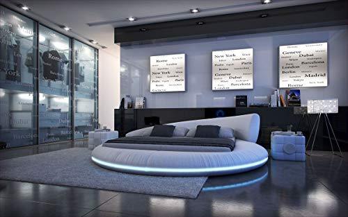 Sofa Dreams Design Rundbett Mezzo mit LED Beleuchtung 180 x 200 cm - 200 x 200 cm - 200 x 220 cm