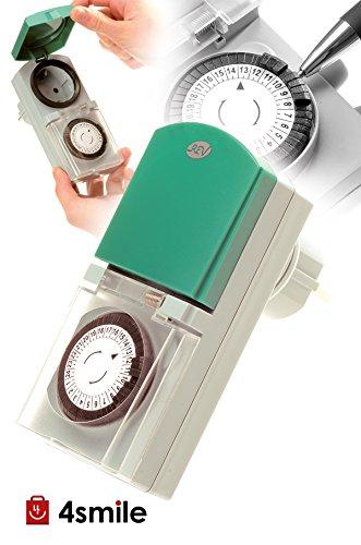 ZEITSCHALTUHR STECKDOSE Tempo OUTDOOR von 4smile   mechanische Schaltuhr mit Tagesprogramm (24h) 48 Schaltzeiten pro Tag   für den Außenbereich IP 44   Kinderschutz   Farbe: grau-grün