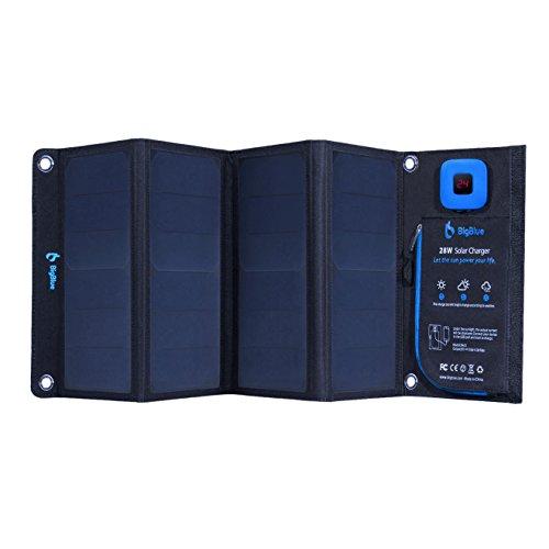 BigBlue 28W tragbar Solar Ladegerät 2-Port USB 4 Wasserdichte Solarpanel mit digital Amperemeter und Reißverschluss zum Schutz - für Wiederaufladen USB-Geräte - iPhone Android GoPro usw, Schwarz