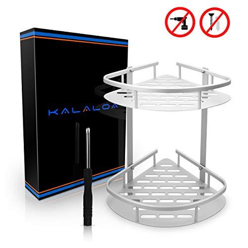 Kalaloa Premium Duschregal ohne Bohren - Hochwertiger Look durch unsichtbare Klebepads - Doppelte Duschablage mit hoher Tragfähigkeit - Inklusive gratis Schraubenzieher und Video-Anleitung