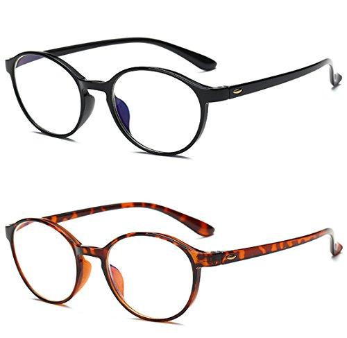 VEVESMUNDO Lesebrillen Damen Herren Spring Scharnier Augenoptik Flexibel Brille Lesehilfe Sehhilfe ArbeitsplatzbrilleVollrandbrille Schwarz Braun Schildpatt brille (2 Stücks Set(SCHWARZ+BRAUN), 2.5)