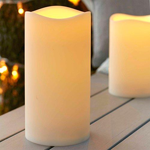 LED Außenkerze Gartendeko mit Zeitschaltuhr 22,5cm Batteriebetrieb Lights4fun