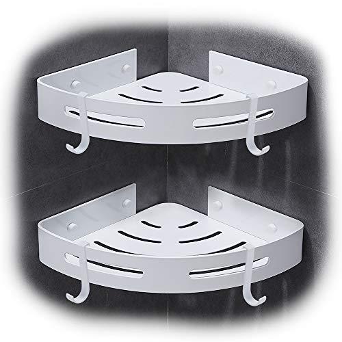 Hoomtaook Duschregal Eckablage Duschkorb Duschablagen Ohne Bohren für Bad, Ohne Bohren, Aluminium, Matte Finish, Badregal, 2 Stück Weiß