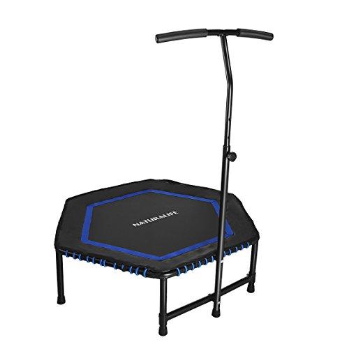 Naturalife Mini Fitness-Trampolin mit Griff, 106cm/42inch Fitness Rebounder für Körpertraining und Cardio Workouts, Max bis 120kg, Blau