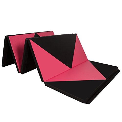 CCLIFE Tragbar Faltbar Gymnastikmatte Weichbodenmatte Yogamatte Turnmatte Klappmatte Fitnessmatte 300x120x5cm Farbwahl, Farbe:Schwarz & Rot A