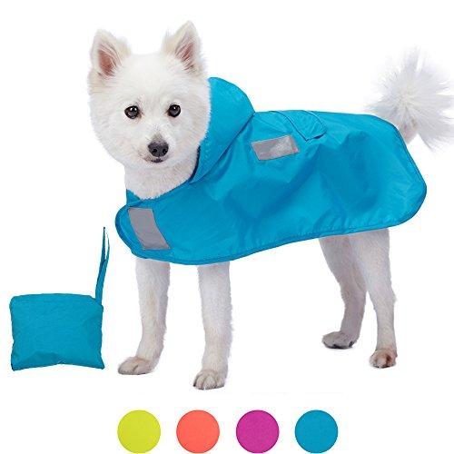 Blueberry Pet 36cm Leichter Verstaubarer Kapuzen-Hunde-Regenmantel Poncho mit 3M Reflektor-Sicherheitsstreifen in Azurblau, Einzelpackung Outdoor Regenjacke für Hunde