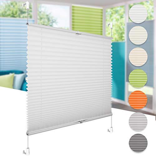 Klemm Plissee Faltrollo ohne Bohren, Lichtdurchlässig oder Blickdicht, Lichtschutz & Sichtschutz, EasyFix Für Fenster und Tür, Weiß 60 x 200 cm